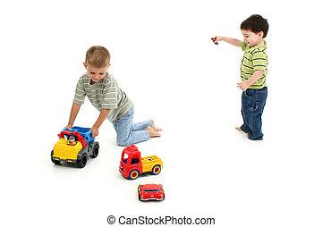 toddler, meninos, tocando