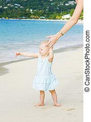 toddler on the beach, Grand Anse Bay; Grenada