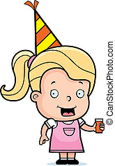 Toddler Party - A happy cartoon toddler with a party hat on.