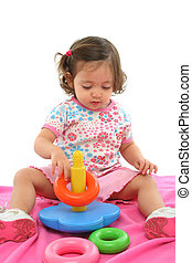 Toddler playing with generic toy - Little girl playing and ...