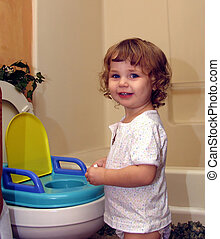 Toddler potty time - Toddler toilet training with potty seat...