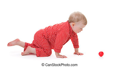 toddler, rood, pajama