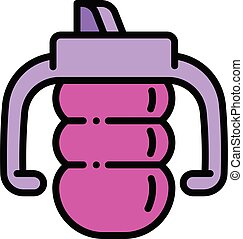 Toddler sippy cup icon, outline style - Toddler sippy cup ...