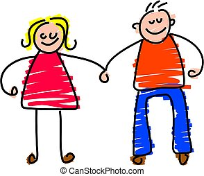 happy couple - toddler style drawing of a happy couple ...