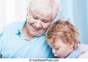 toddler, uitgeven, tijd, met, oma
