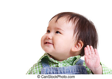 Toddler waving - Pretty oriental girl smiling and waving