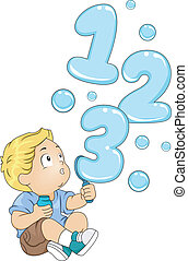 Toddler with 123 Bubbles - Illustration of a Kid Playing...