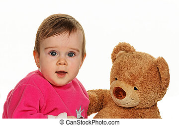 Toddler with a teddy bear