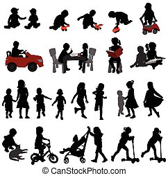 toddlers and kids silhouettes