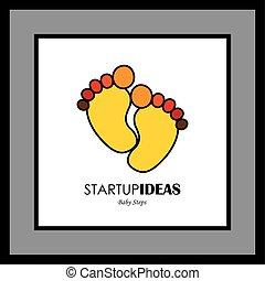 toddler's, coloré, vecteur, footprint-, enfant, paire, logo, ou, icône