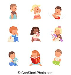 Toddlers in different situations. Vector illustration on a white background.