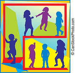 Colorful illustration of toddlers walking and standing in active poses