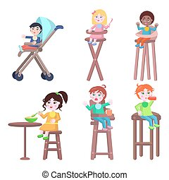 Toddlers on Children High Chairs Flat Vector - Baby with...