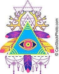 todo-ver, olho, símbolo., piramide
