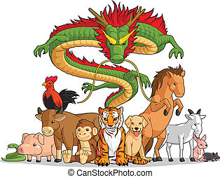 todos, 12, animales, chino, toget, zodíaco