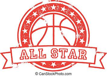 todos, baloncesto, estrella