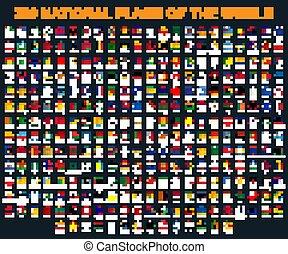 todos, banderas del mundo, en, alfabético, order., redondo, círculo, brillante, style.