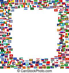 todos, banderas, marco