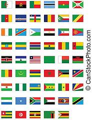 todos, conjunto, bandera, counties., africano