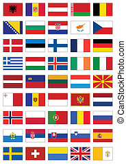 todos, conjunto, bandera, countries., europeo