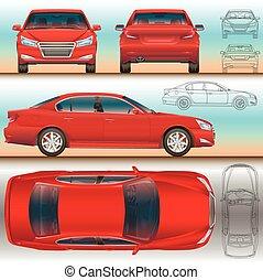 todos, conjunto, contorno, color, coche, ilustración,...