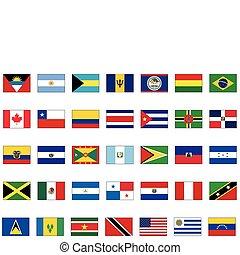 todos, conjunto, norteamericano, countries.
