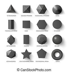 todos, dark., formas, plantilla, básico, 3d