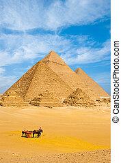todos, egipcio, v, juntos, carrito, pirámides, turistas