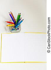 todos, lápices, papel, creatividad, tijeras, niños, coloreado