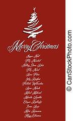 todos, langua, rojo, feliz navidad, tarjeta