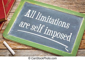 todos, limitaciones, ser, sí mismo, impuesto