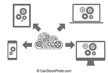 todos, red, informática, dispositivos, conectado, nube