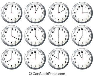 todos, reloj, oficina, épocas
