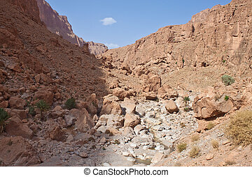 Todra Gorge canyon in the High Atlas mountains of Morocco,...