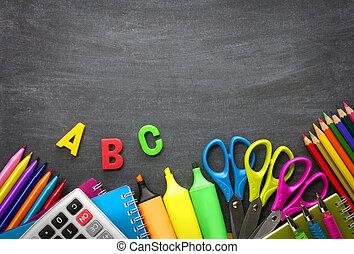toebehoren, school, achtergrond, bord