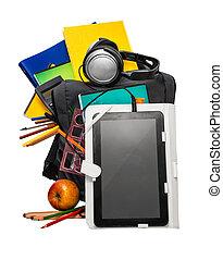 toebehoren, school, schooltas, tablet, koptelefoon