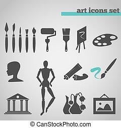 toebehoren, set, kunst, schilderij, iconen