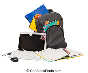 toebehoren, tablet, computer, schooltas, school