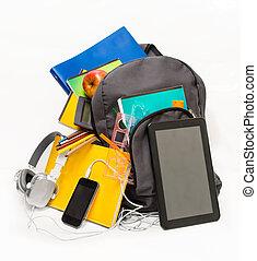 toebehoren, tablet, schooltas, school, headphon