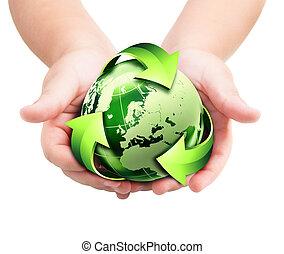 toekomst, handen, -, recycling