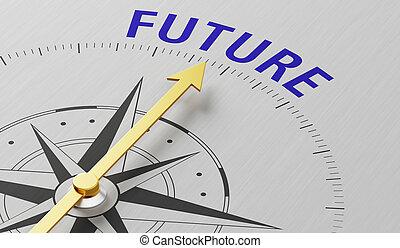 toekomst, naald, woord, wijzende, kompas