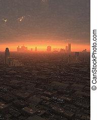 toekomst, stad, op, ondergaande zon