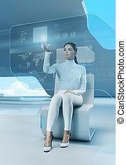 toekomst, technology., meisje, drukken, knoop, touchscreen,...
