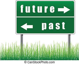 toekomst, verkeersbord, past.