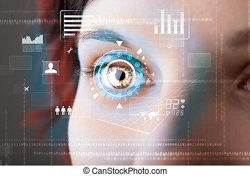 toekomst, vrouw, met, cyber, technologie, oog, paneel,...