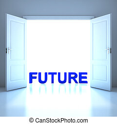 toekomst, woord, conceptueel, in, de toekomst