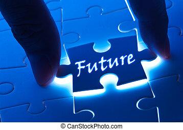 toekomst, woord, op, puzzelstuk