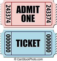 toelaten, ticket, een