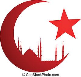 toenemende maan, met, moskee