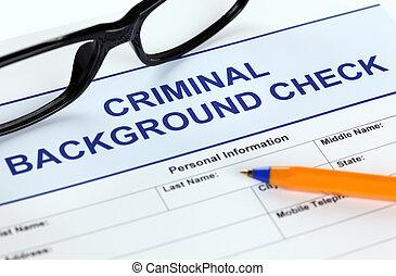 toepassing, crimineel, achtergrond, controleren, vorm
